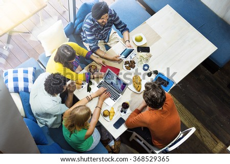 Meeting Conference Bread Notebook Working Desk Concept - stock photo