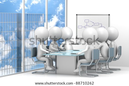 Meeting. 3D little human characters X6 in the meeting room. Skyscraper view.Business People series. - stock photo