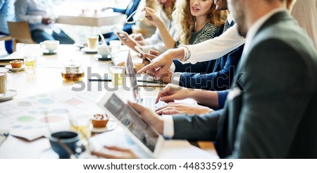 Meeting Discussion Graph Analytics Business Concept - stock photo