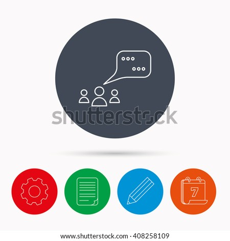 Meeting icon. Chat speech bubbles sign. Speak balloon symbol. Calendar, cogwheel, document file and pencil icons. - stock photo