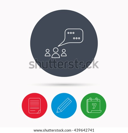 Meeting icon. Chat speech bubbles sign. Speak balloon symbol. Calendar, pencil or edit and document file signs.  - stock photo
