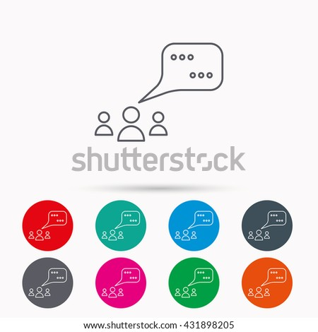 Meeting icon. Chat speech bubbles sign. Speak balloon symbol. Linear icons in circles on white background. - stock photo