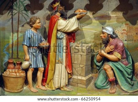 Meeting of Abraham and Melchizedek - stock photo