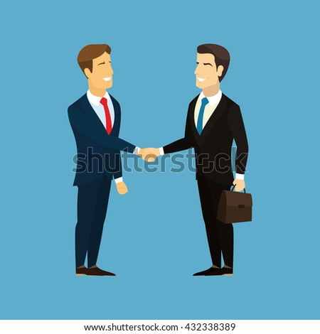 Meeting of business partners. Businessman with briefcase in hand. Two businessman shaking hands. Asian businessman, European businessman shake hands. Business people handshake. Businessman hand shake.