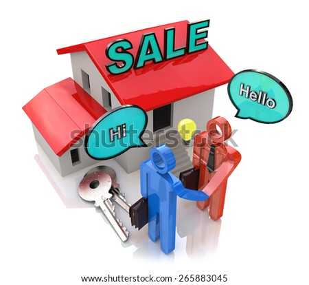 Meeting of buyer and seller in the design of the information related to the sale of Real Estate - stock photo