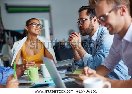 Meeting of office workers - stock photo