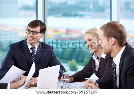 Meeting of permanent employees in the office - stock photo