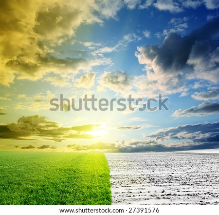 meeting of spring with the winter - stock photo