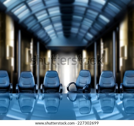 Meeting of the board futuristic office interior - stock photo