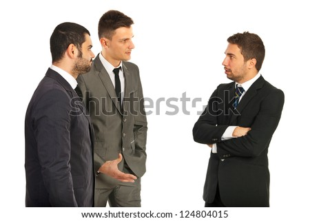 Meeting of three business men having conversation isolated on white background - stock photo