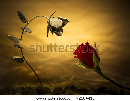Meeting of two flowers, metal and nature - stock photo