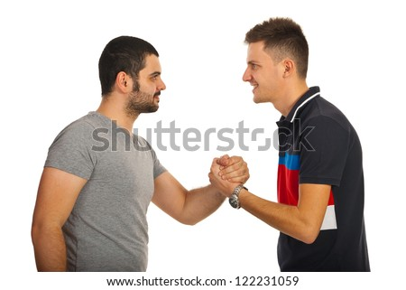 Meeting of two friends guys giving handshake isolated on white background - stock photo