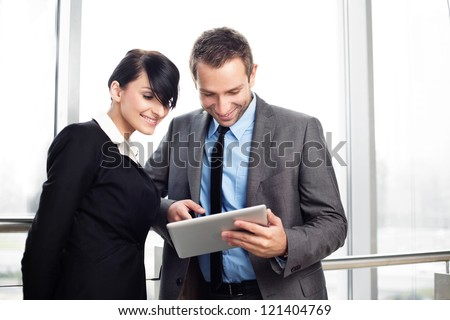 Meeting of two happy business people