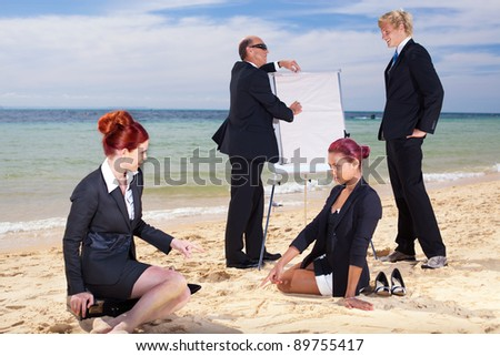 Meeting on the beach - stock photo