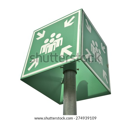 Meeting or assembly point sign isolated on white with clipping path - stock photo