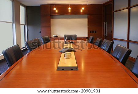 Meeting or board room for a company.