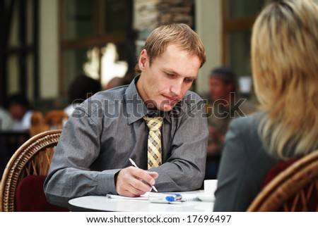 meeting outdoor - stock photo