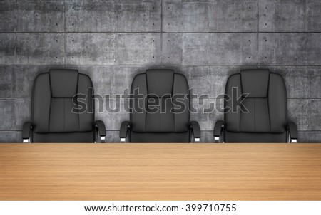 Meeting room. chairs at table. concrete wall. 3D rendering - stock photo