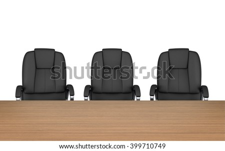 Meeting room. chairs at table isolated on white with clipping path. 3d rendering - stock photo