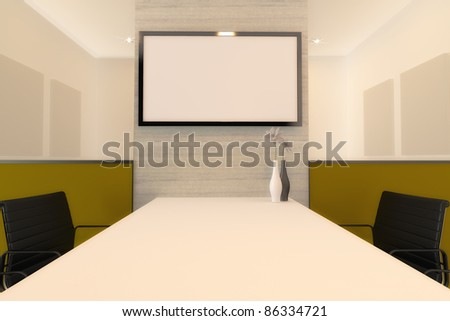 Meeting Room for presentation with LED screen. - stock photo
