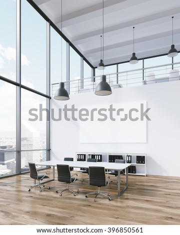 Meeting room for six, blank poster on wall, lamps above. Panoramic window, city view. Loft. Concept of meeting. 3D rendering