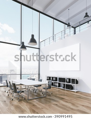 Meeting room for six, blank poster on wall. Panoramic window, city view. Loft. Concept of meeting. 3D rendering - stock photo