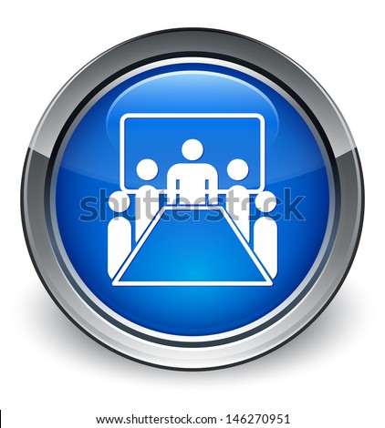 Meeting room icon glossy blue button - stock photo