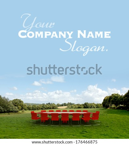 Meeting room in  a country field - stock photo
