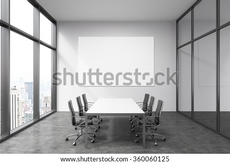 Meeting room in office building, French window to the left with New York view, big white rectangular table and six black leather armchairs around. White board on the back wall. Concept of negotiations - stock photo