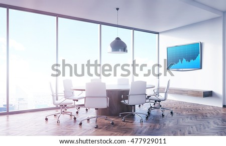 Meeting room interior with panoramic window, round wooden table, tv set with graph on white wall and leather armchairs. Concept of business meeting. 3d rendering.