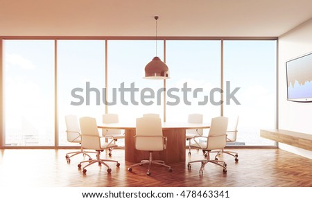 Meeting room interior with round table, leather armchairs, big ceiling lamp and tv set with graph on white wall. Concept of brainstorm. 3d rendering. Toned image