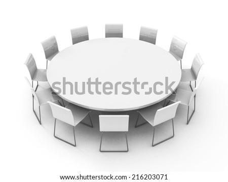 meeting room table with chairs around. 3d render illustration - stock photo