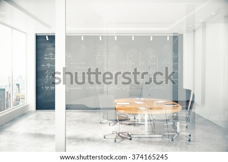 Meeting room with a glass wall with copyspace 3D Render - stock photo