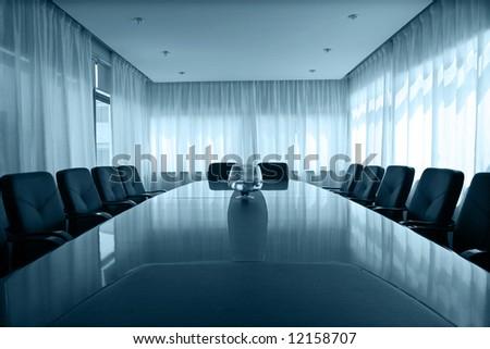 meeting room with  aquarium - stock photo