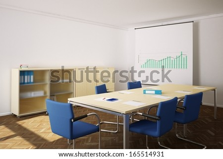 Meeting room with blue chairs and flip chart in background - stock photo