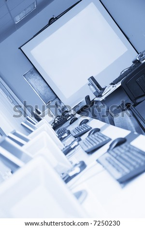 meeting room with blue tint - stock photo