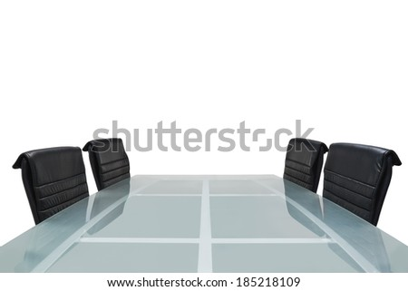 Meeting room with glass top table, office interior - stock photo