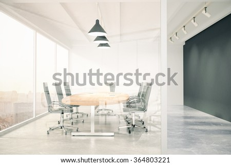 Meeting room with glass wall, blackboard, wooden table, window and copy space 3D Render - stock photo