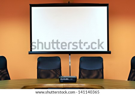 meeting room with projector - stock photo