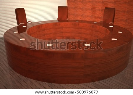Meeting room with round table, 3d rendering