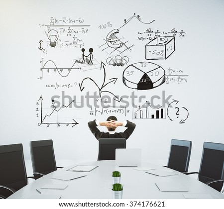 Meeting room with table and chairs and a business diagram on the wall 3D Render - stock photo
