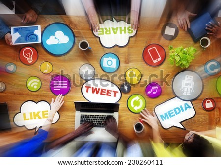 Meeting Social Media Social Networking Discussion Concept - stock photo