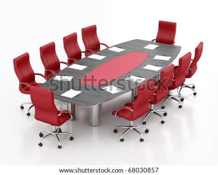 meeting table and chairs with papers and pens - rendering - stock photo