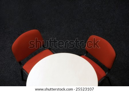 meeting table from above isolated - stock photo