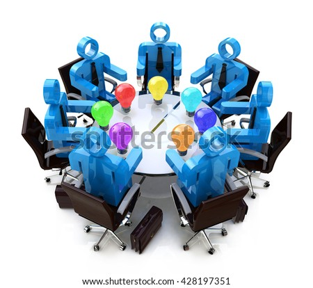 meeting to discuss new ideas in the design of information related to business ideas. 3d illustration - stock photo