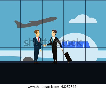 Meeting two businessmen at the airport. Businessmen shaking hands at a meeting. Businessman with luggage on wheels -  business trip. airport lounge with views of the aircraft, which takes off.