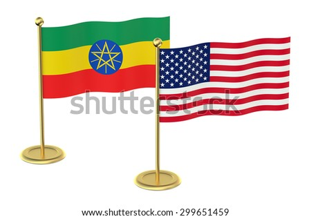 meeting USA  with  Ethiopia concept isolated on white background - stock photo