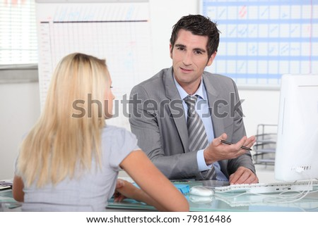 Meeting with manager - stock photo