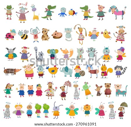 Mega collection of cartoon characters - stock photo