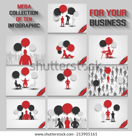 MEGA COLLECTION OF TEN BUSINESS MAN INFOGRAPHIC RED NEW - stock photo